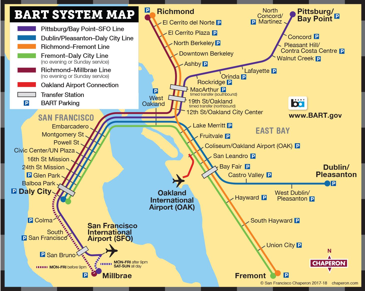 Bart San Francisco Map Stations.San Francisco Transportation San Francisco Visitors Guide Chaperon